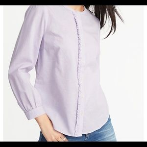 OLD NAVY Relaxed Ruffle-Trim Shirt Purple